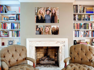Family Portrait Photography Wall art over Fireplace